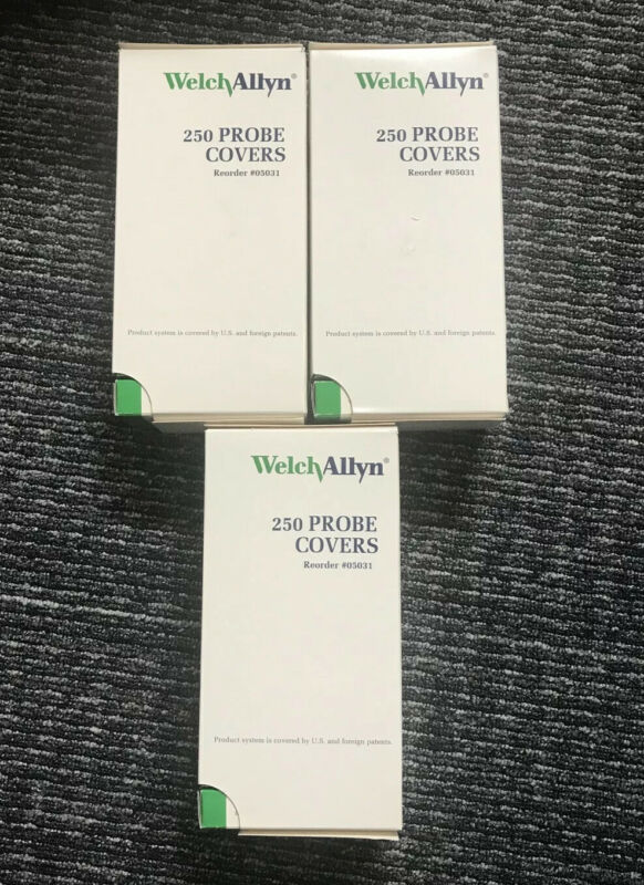 (3) Welch-Allyn 250 Pack Disposable Thermometer Probe Covers SureTemp Plus 05031