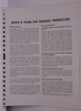 Kodak Tech Data 1970 Super 8 Films Original Production