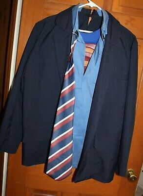 Clark Kent Superman Adult Costume 2 In 1 Men's Superhero Suit Tie Muscle EUC