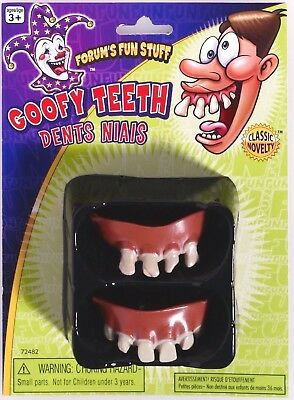 2 GOOFY JOKE TEETH Nerd Fake Funny Hillbilly Bad Halloween Set Ugly Buck Rubber