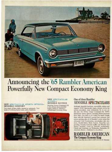 1965 RAMBLER AMERICAN Seaside light aqua 2-door coupe at beach Vintage Print Ad
