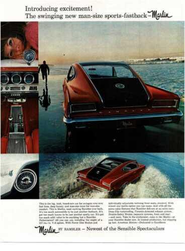 1965 RAMBLER Marlin red black driving through surf Vintage Print Ad