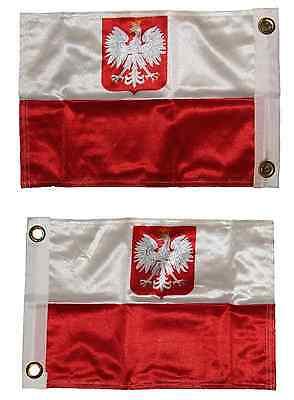 11x15 Poland Polish Polska Eagle 2 Faced 2-ply Wind Resistant Flag 11x15 -