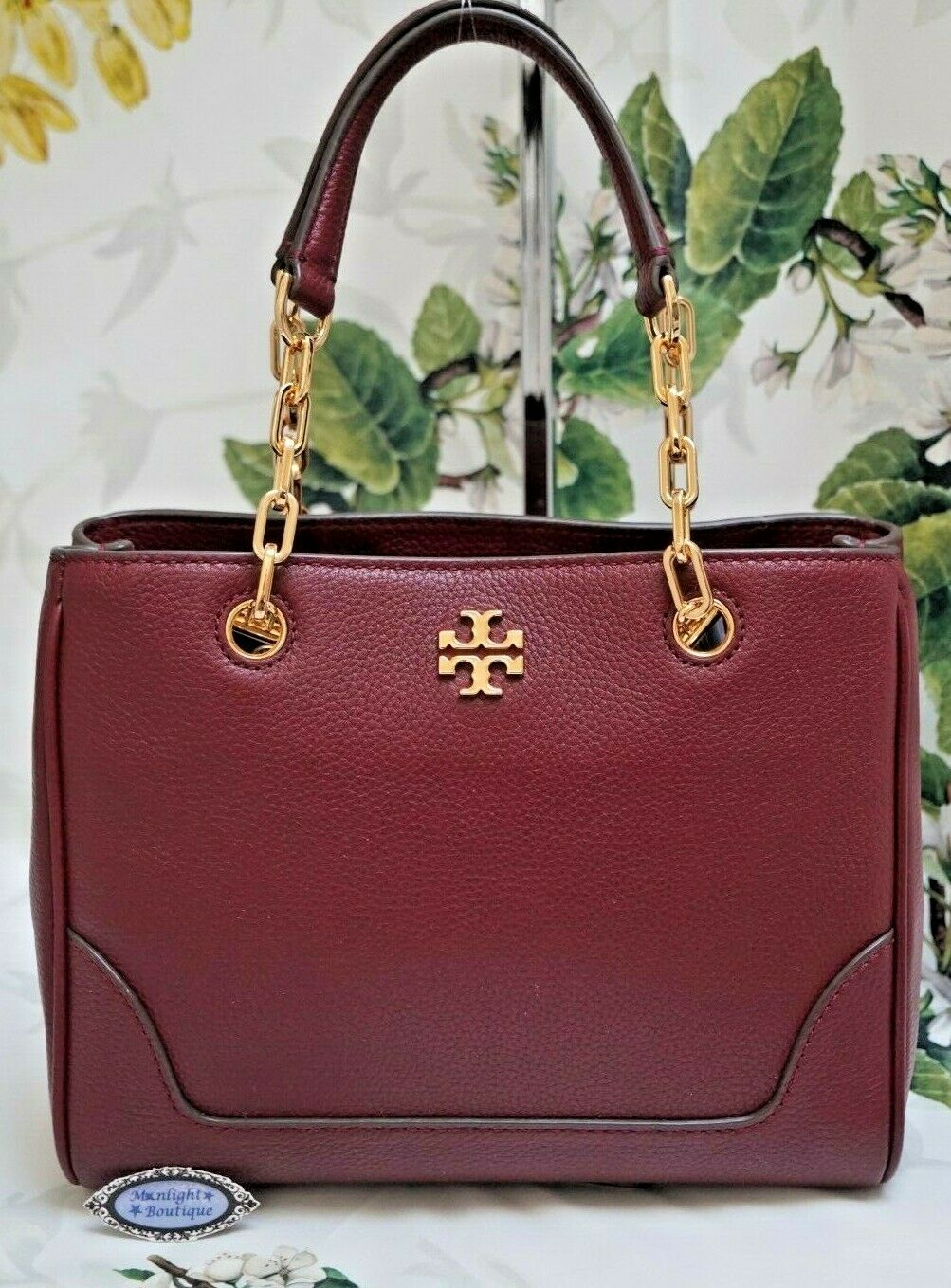 NWT TORY BURCH CARTER SMALL Chain Shoulder Tote Bag In IMPERIAL GARNET Leather