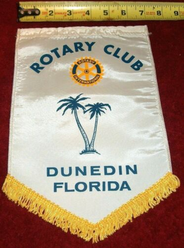 VINTAGE Rotary International Club wall banner flag    DUNEDIN   FLORIDA