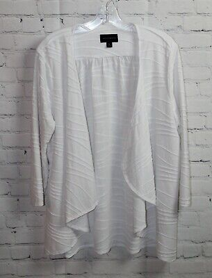 Investments Women's White Textured 3/4 Sleeve Jacket Open Cardigan 16W