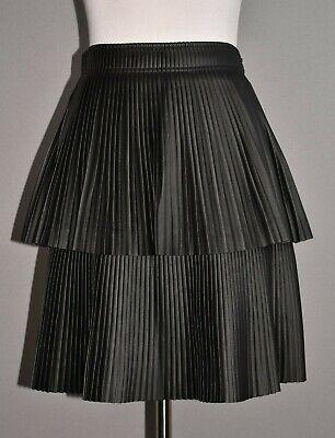 GIANNI BINI NEW $110 Black Faux Leather Pleated Tiered Mini Skirt Size 0