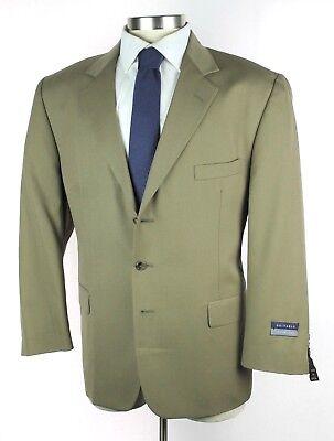 NWT $350 HARDWICK USA Lenox Solid Tan Khaki Wool 3Btn Suit 46S 42W