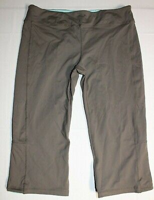 Womens Athletic Works Cropped Capri Pants Large Beige Teal Yoga Athletic Fitness