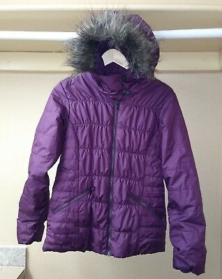 Columbia Puffer Jacket Hoodie Faux Fur Purple Thermal Coil Sz S (Purple Fur Jacket)