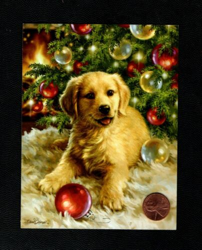 CHRISTMAS Golden Retriever Tree Ornaments  - SMALL - Greeting Card W/ TRACKING
