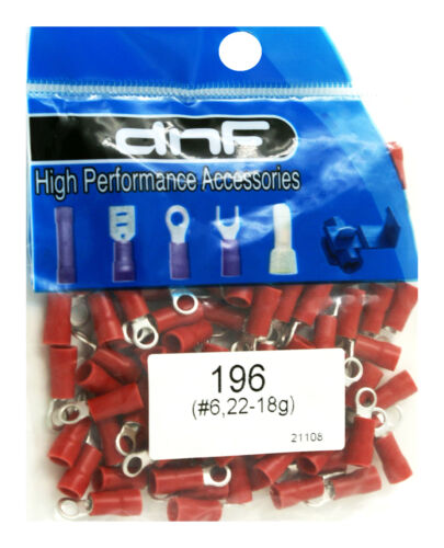 (100 PACK) 22-18 GAUGE RED RING TERMINALS ELECTRICAL WIRE CONNECTORS #6