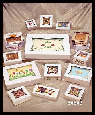 25 Small Bakery Box With Window 6x6x3 White For