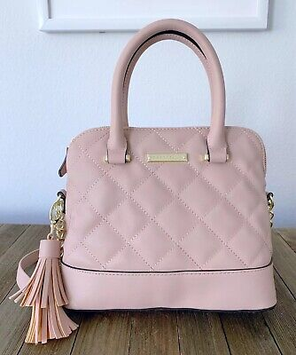 MADDEN GIRL Blush Pink Quilted Crossbody Dome Satchel Handbag -