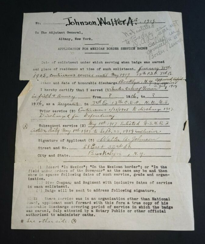 WW1 Application To Adjudent General For Mexican Border Service Badge
