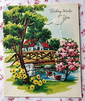 Vintage 1950s UNUSED Birthday Card Country Cottage, Ducks in Pond, & Bridge