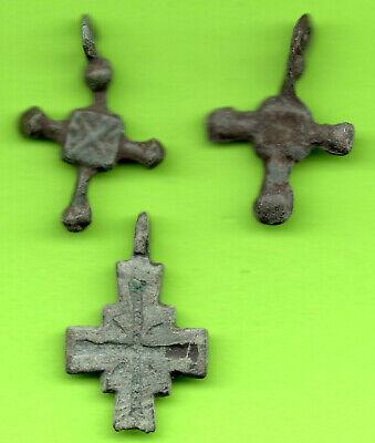 Lot of 3 Ancient Bronze Pendant Fibula Baltiv Scandinavian Russia RARE 62