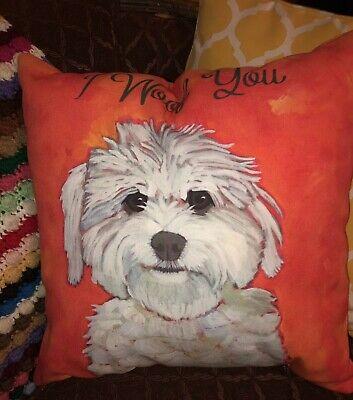 I Woof You Throw Pillow Orange 18 x 18 na sprzedaż  Wysyłka do Poland