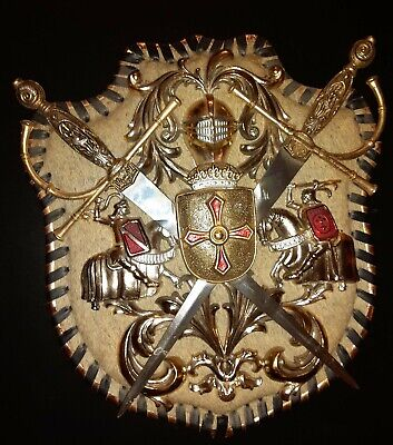 Vintage Medieval Knight Coat of Arms Shield Relief for Wall Sculpture with Sword