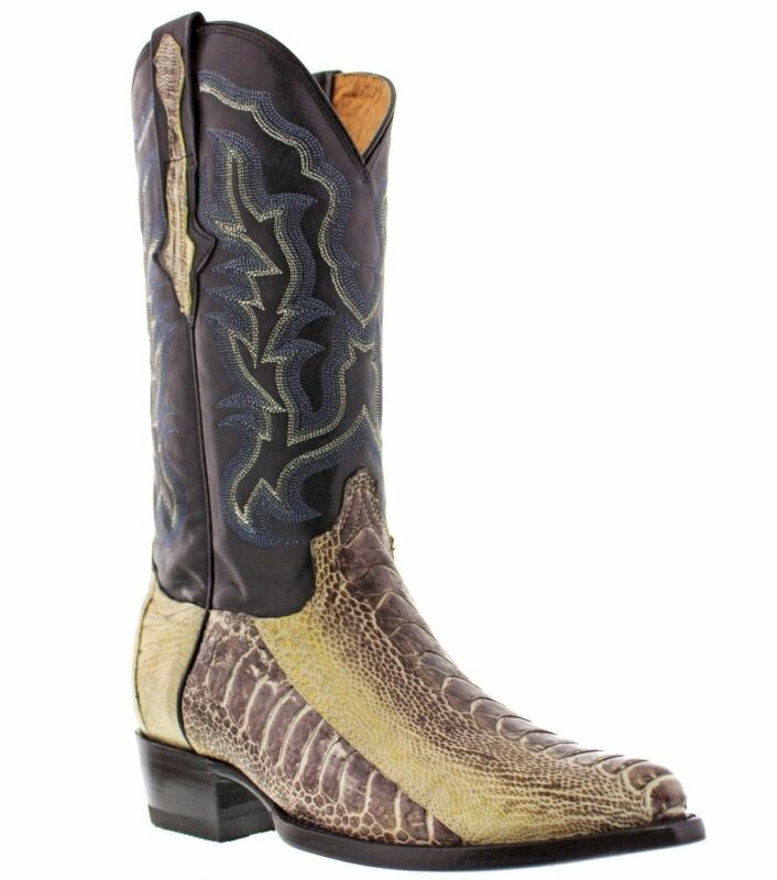 Mens, Genuine, Ostrich, Foot, Exotic, Skin, Cowboy, Boots, Western, Wear, Natural, J, Toe