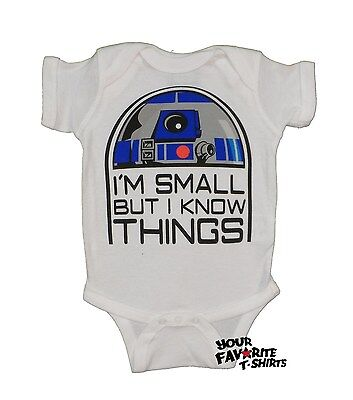 Star Wars Cute R2D2 I'm Small But I Know Things Baby Infant Snapsuit