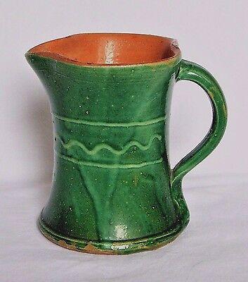 Early Claypits Ewenny Welsh Pottery Slipware Green Heart Shaped Milk/Water Jug