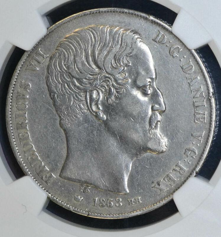 Denmark 2 Rigsdaler 1863/53 EF40 NGC silver KM#761.3 Frederik VII RARE