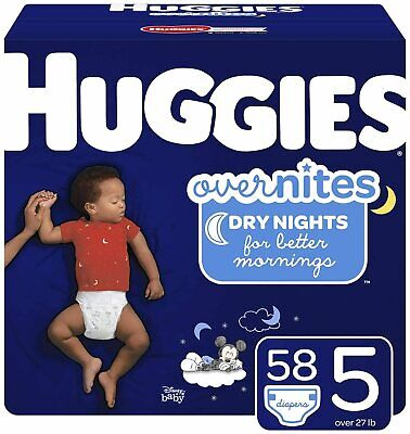 Huggies OverNites, Diapers, Size 5, 58 Count