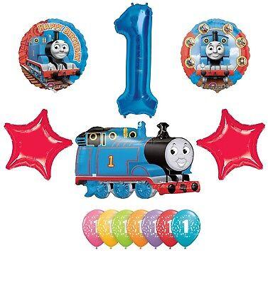 THOMAS the TANK Train ENGINE 1st Happy Birthday Party Mylar Latex Balloons - Thomas First Birthday