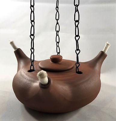 Rustikale Öl (Öllampe Öllicht dreiflammig Kette Deckel Ton Keramik Mittelalter rustikal natur)