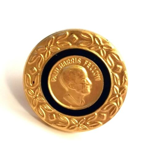 Vintage Rotary International Paul Harris Fellow Gold Tone Donor Award Pin Badge