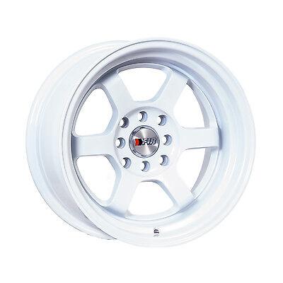 "F1R Wheels F05 Rims 15x8 4x100 4x114.3 +0 Offset 3"" Stepped Lip White"