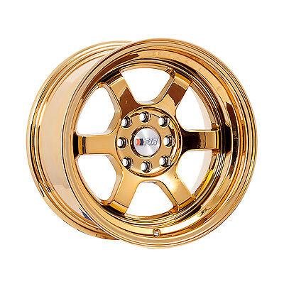 "F1R Wheels F05 Rims 15x8 4x100 4x114.3 +0 Offset 3"" Stepped Lip Gold Chrome"