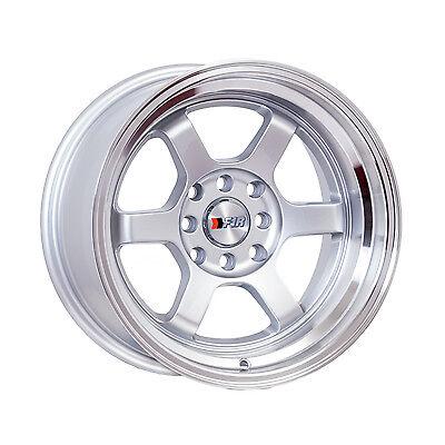 "F1R Wheels F05 Rims 15x8 4x100 4x114.3 +0 Offset 3"" Lip Silver with Polished Lip"