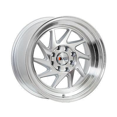 """F1R Wheels F07 Rims 15x8 4x100 4x114.3 +25 Offset 2.5"""" Step Lip Machined Silver"""