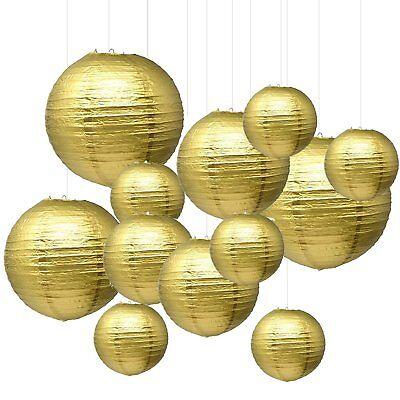 Sonnis Gold Round Paper Lanterns 12inch 10inch 8inch size for Birthday Wedding](Paper Round Lanterns)