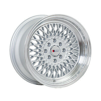 F1R Wheels F01 Rims 15x8 4x100 4x114.3 +25 Offset Machined Silver w/Polished Lip