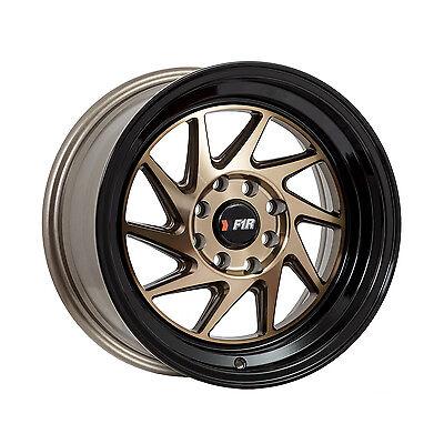 F1R Wheels F07 Rims 15x8 4x100 4x114.3 +25 Offset Machined Bronze with Black Lip