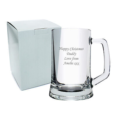 Personalised Glass Pint Tankard - Engraved Free - Christmas Gift, Anniversary