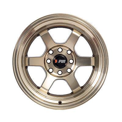 "F1R Wheels F05 Rims 15x8 4x100 4x114.3 +0 Offset 3"" Stepped Lip Machined Bronze"
