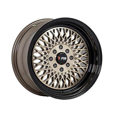 F1R Wheels F01 Rims 15x8 4x100 4x114.3 +0 Offset Machined Bronze with Black Lip