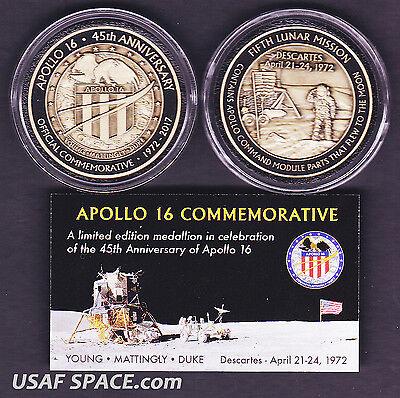 APOLLO 16 - 45th Anniversary FLOWN METAL -Limited Edition- NASA MEDALLION-COIN