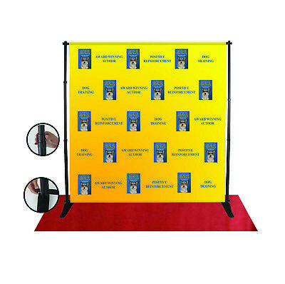 8x8 Ft CUSTOM Step Repeat Banner Backdrop Printing Full Color FABRIC (NO STAND) ()
