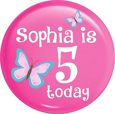Personalised Butterfly Birthday Pink Style Happy Birthday Metal Pin Badge (Happy Birthday Butterfly)