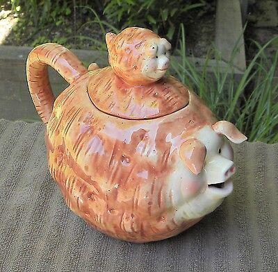 Vintage Porcelain PIG Figure Teapot