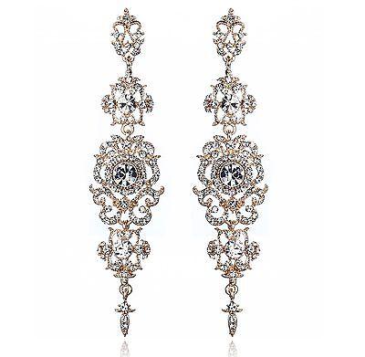 4.25'' L Rose Gold Austrian Crystal Rhinestone Chandelier Dangle Earrings -