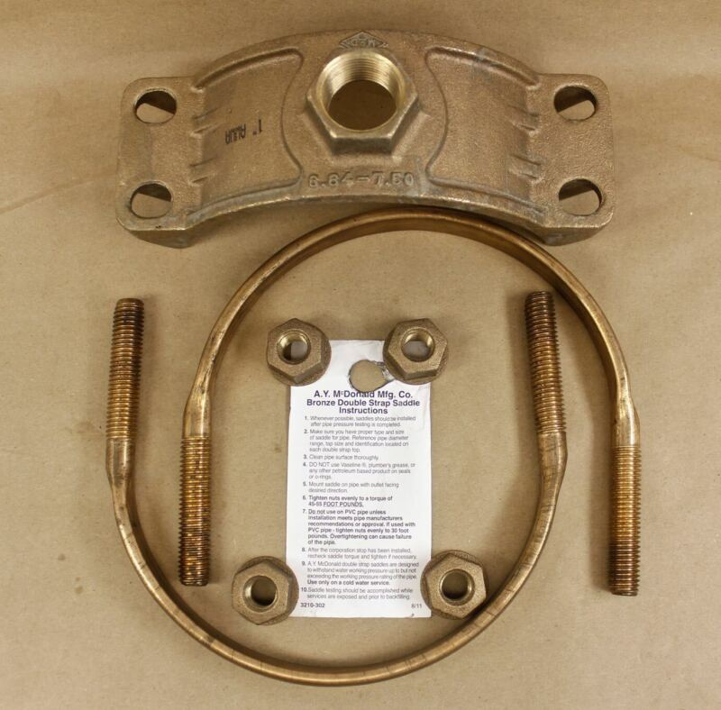 "McDonald 3825 6x1 Bronze Double Strap 6"" Service Saddle AWWA 1"" x 6.84 to 7.50"""