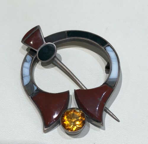 Scottish Agate & Citrine Penannular Brooch - 1940s - Sterling Silver