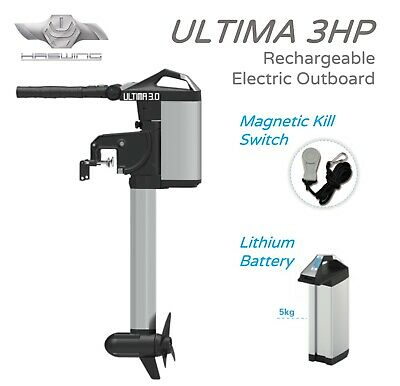 HASWING ULTIMA 3HP Electric Outboard, with integrated 1030 Watt Lithium Battery