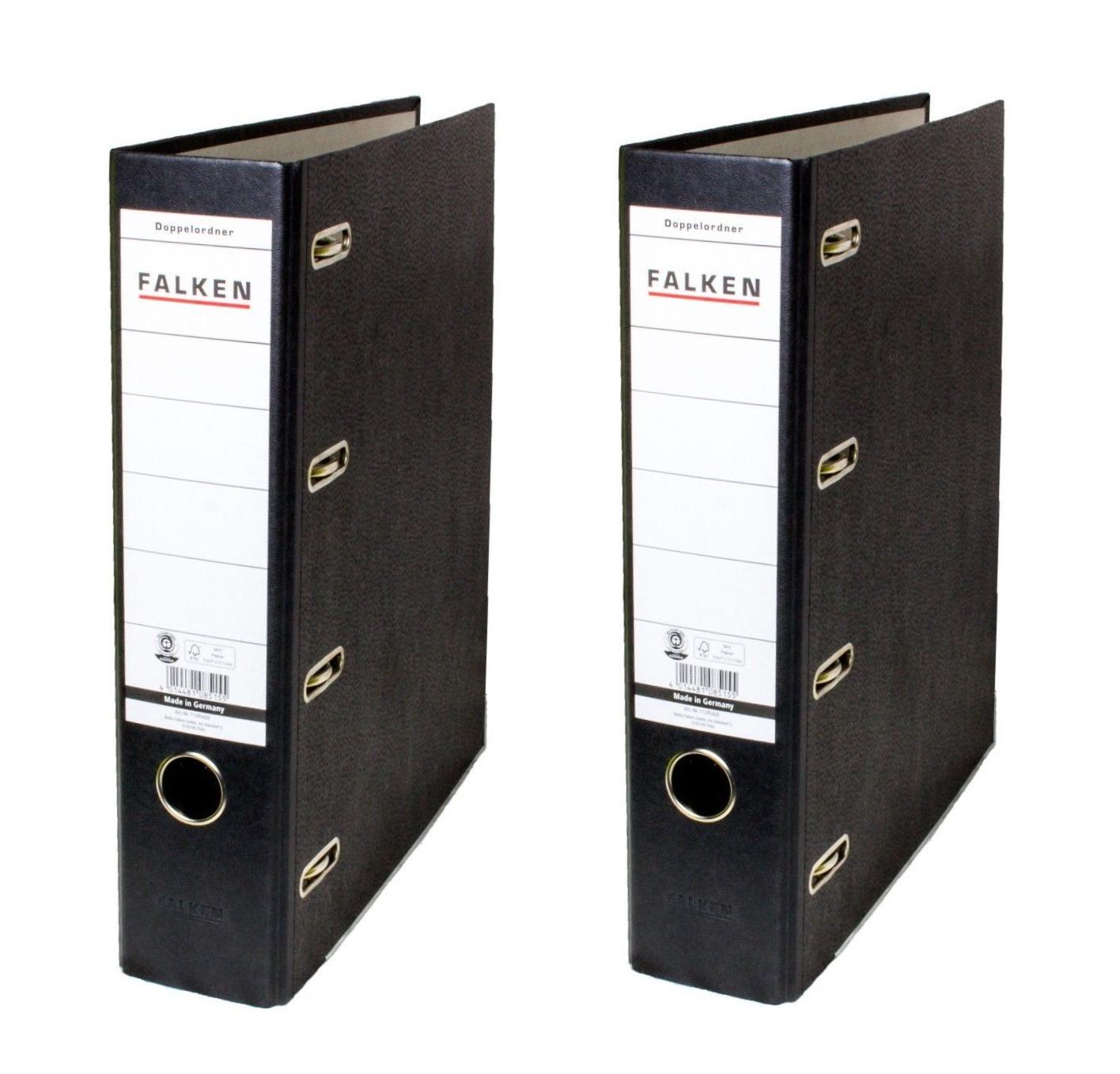 2 x Falken Doppelordner schwarz 2 x A5 quer 70mm für Kontoauszüge